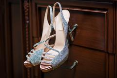 Luxury stylish bridal shoes with jewels. Wedding concept Stock Photos