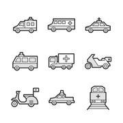 Medical Ambulance car and train set icons Stock Illustration