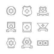 Line Icons Medical Ambulance label set icons - stock illustration