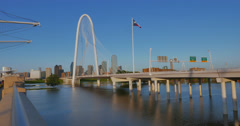 Margaret Hunt Bridge with Flooded Trinity River Stock Footage