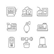 Line Icons Medical Device Icon Set of Operating Room - stock illustration