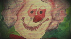disturbing clown imagery clown painting weird - stock footage