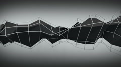 Polygonal black contruction. Abstract 3D render animation loop 4k 3840x2160 - stock footage