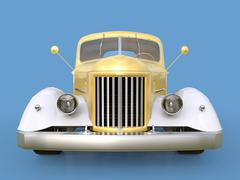 Old restored pickup. Pick-up in the style of hot rod. 3d illustration. Golden Stock Illustration