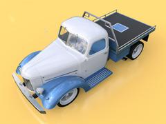 Old restored pickup. Pick-up in the style of hot rod. 3d illustration. White  Piirros