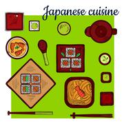 Popular seafood dishes of japanese cuisine sketch Stock Illustration