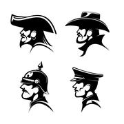 Pirate, cowboy, prussian general, german soldier Stock Illustration