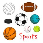 Stock Illustration of Sporting items for team games colored sketches