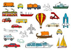 Road, air, railroad, water transportation symbols - stock illustration
