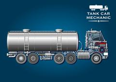 Tank truck symbol made of mechanical parts Stock Illustration