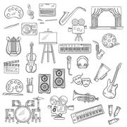 Entertainment and visual arts sketch icons Stock Illustration