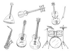 Sketchy musical instruments for arts design Stock Illustration