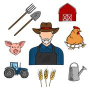 Agriculture or livestock farmer sketch symbol Stock Illustration