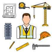 Engineer sketch icon for civil engineering design - stock illustration