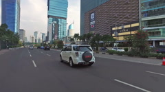 A POV drive in Jakarta business district Stock Footage
