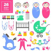 Cool colorful items for little toddler girl or boy - stock illustration