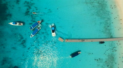aerial view of ship approaching to pier - stock footage
