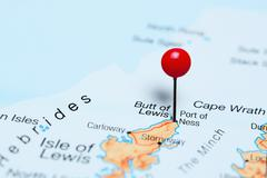 Port of Ness pinned on a map of Scotland Stock Photos