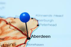 Aberdeen pinned on a map of Scotland - stock photo