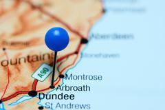 Arbroath pinned on a map of Scotland - stock photo