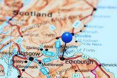 Edinburgh pinned on a map of Scotland - stock photo