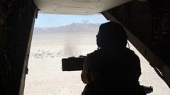 Gunner On Board Osprey Aircraft Shooting Stock Footage