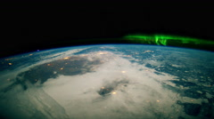 View on Earth, Atmosphere and Aurora from space 4K Stock Footage