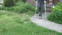 Handicap accident falling fall cripple man Stock Footage