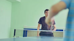 man playing table tennis sport slow motion video backhand - stock footage