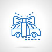Automobile gift blue line vector icon - stock illustration