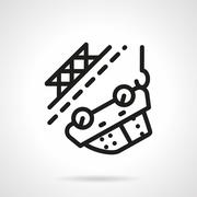 Car towing black simple line vector icon Stock Illustration