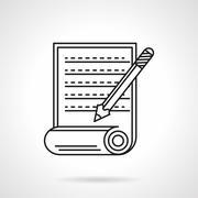 Manuscript icon flat line vector icon Stock Illustration