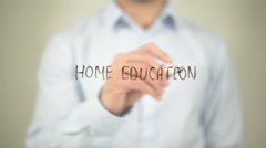 Home Education , writing on transparent screen Stock Footage