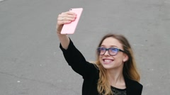 Very Beautiful And Nice Girl in Glasses Makes Selfie Traveling. Stock Footage