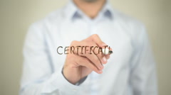 Certificate , writing on transparent screen Stock Footage