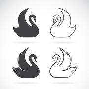 Vector images of swan design on a white background. - stock illustration