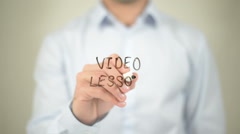 Video Lesson , writing on transparent screen Stock Footage