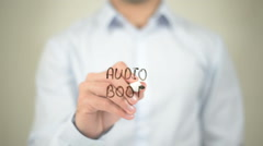 Audio Book, writing on transparent screen - stock footage