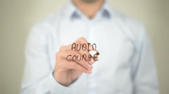 Audio Course, writing on transparent screen Stock Footage