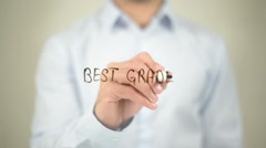 Best Grade, writing on transparent screen Stock Footage