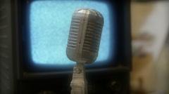 microphone AV equipment broadcast broadcasting - stock footage