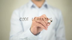 Code Learning, writing on transparent screen Stock Footage
