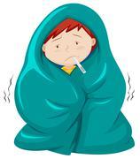Kid under blanket having fever - stock illustration