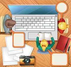 People working on computer - stock illustration