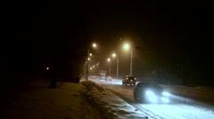 Night romantic snowy with Bridge Stock Footage