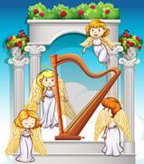 Angels flying around the harp Stock Illustration