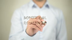 Homosexual Relationship, writing on transparent screen - stock footage