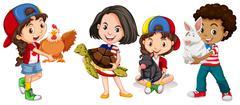 Children with domestic animals - stock illustration