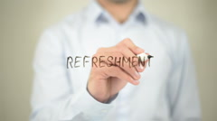 Refreshment, writing on transparent screen Stock Footage