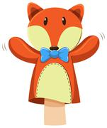 Fox hand puppet with blue bow Stock Illustration
